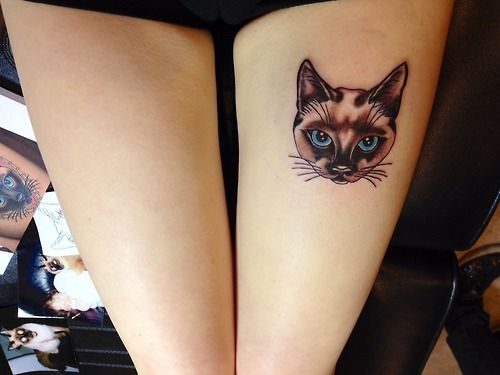 Siamese cat tattoo on my thigh. Done by Jessica at Dakota Ink in East Islip, NY.
