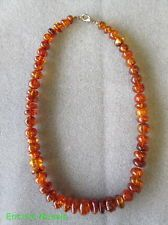 "Vintage 18"" Honey Cognac Amber Graduated Bead Necklace"