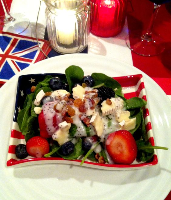 Red,White & Blue Spinach Salad