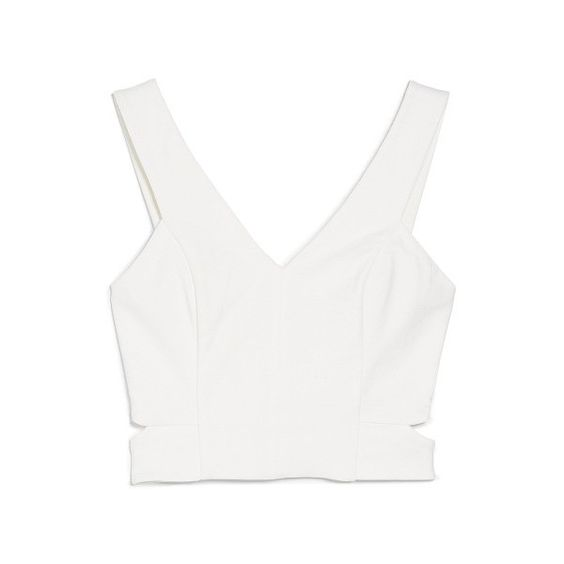 Cropped Slit Top (€17) ❤ liked on Polyvore featuring tops, crop tops, outfits, tanks / cami's, v neck crop top, white cami, sleeveless tank tops, cropped cami and white crop tank top