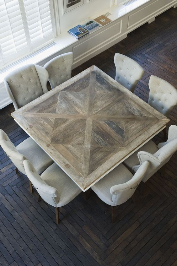 Nico Tijsen, Creative Director bij Riviera Maison - table Inspiratie voor je interieur Awesome inlays in this squares dining table.: