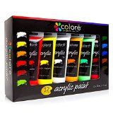 #8: Colore Acrylic Paint Studio Set  Professional Grade Painting Kit For Painting Canvas Wood Clay Fabric Nail Art Ceramic & Crafts  Great For Kids & Adults  12 Extra Large 75 mL (2.5 oz) Tubes