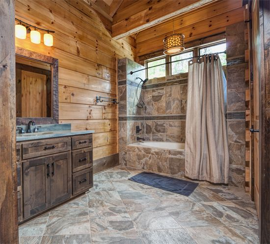 Cabin logs and house on pinterest for Log cabin bathroom designs