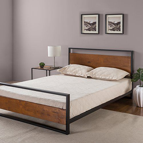 Midcentury Modern Zinus Ironline Metal And Wood Platform Bed With