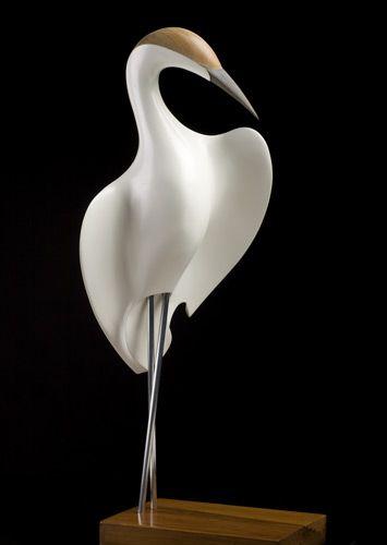 Kotuku (White Heron) by Rex Homan, Māori artist (KR80307):