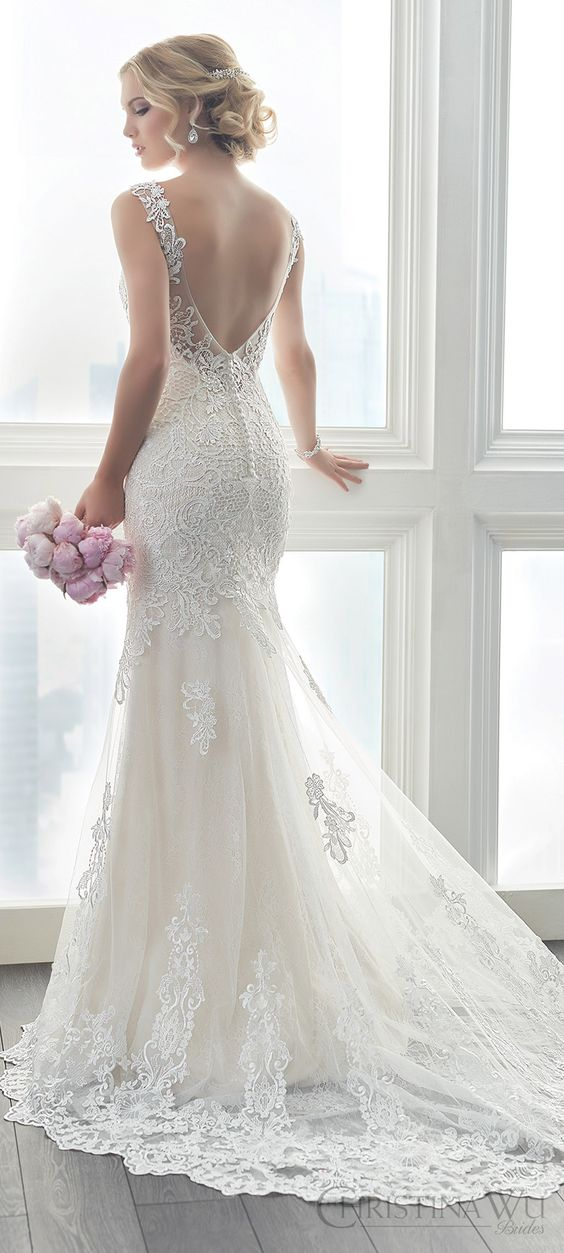 christina wu brides spring 2017 bridal sleeveless illusion straps vneck fully lace embellished trumpet wedding dress (15625) bv train romantic elegant: