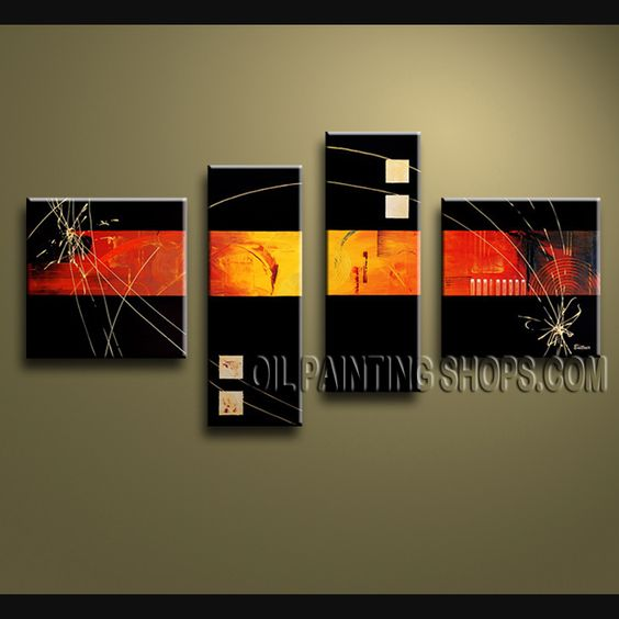 Enchanting Modern Abstract Painting Oil Painting On Canvas For Living Room Abstract. This 4 panels canvas wall art is hand painted by V.Chua, instock - $138. To see more, visit OilPaintingShops.com