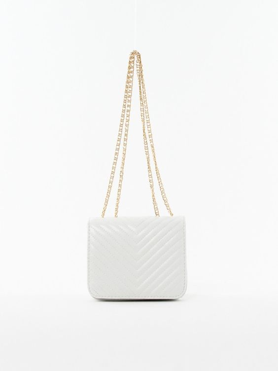Chevron Cross-body Bag in White