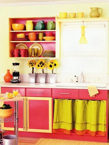 Pink yellow kitchen sunflowers bright colors colorful for Brightly painted kitchen cabinets