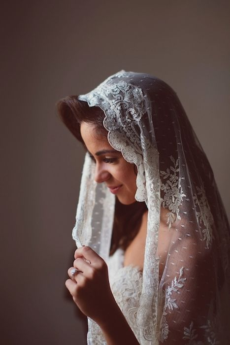 Mantilla veils are the ideal choice for a Spanish style wedding. Source: aljosa videtic photography #spanishtheme #bridalveils #mantilla