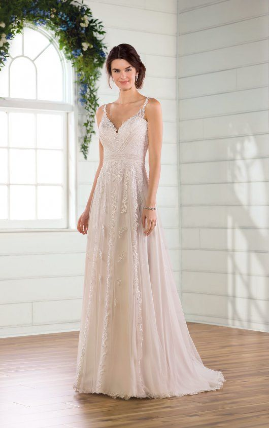 Beach A Line Wedding Dress With Floral Lace Details Wedding Dress Styles Guide Essense Of Australia Wedding Dresses Wedding Dress Styles