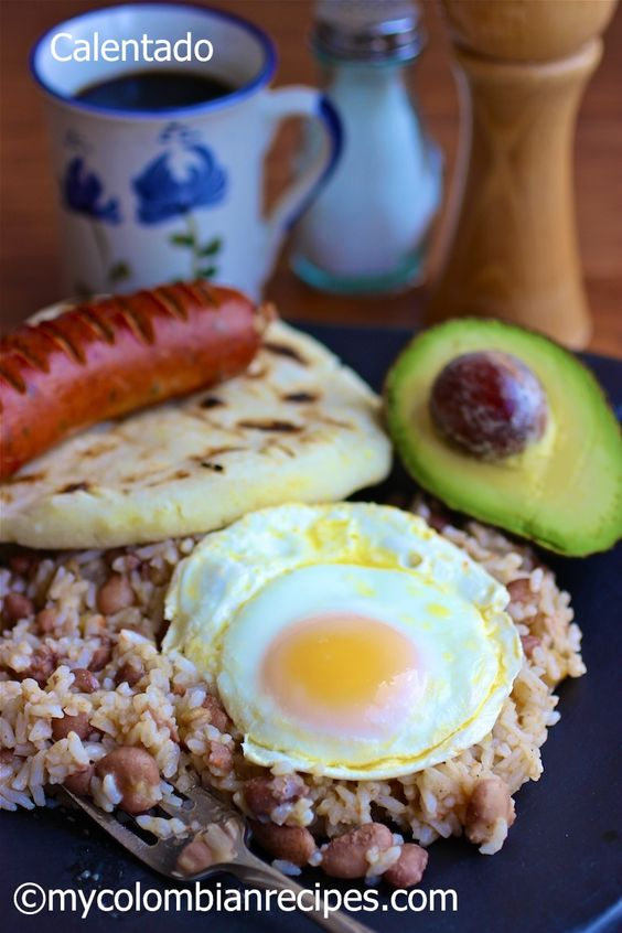 Traditional Colombian Breakfast (Calentado) this is also a traditional Ecuadorian breakfast, my mom made this for us every weekend, super yummy :)