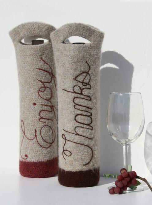 Knot sew cute kim miller felted wine bottle gift bag for Cute wine bottles