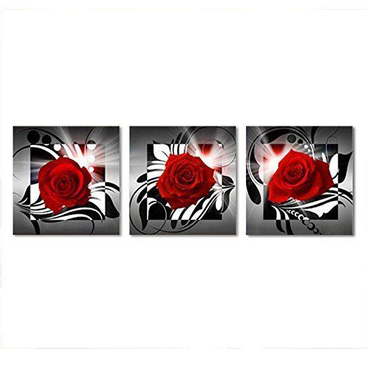 raybre art 3pcs set olgemalde kunstdrucke drucken auf leinwand ohne rahmen blumen rose rote bilder wandgemalde wandbilder gerahmte leinwanddruck online