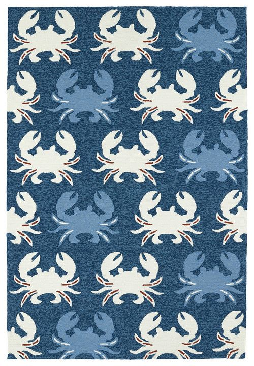 Meet our new Marina Blue and White Crab Area Rug! Blue and off-white crabs with…