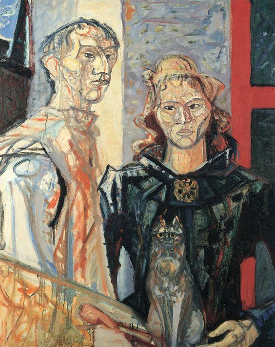 Max Gubler – Doppelbildnis mit Katze, um 1952, Öl auf Leinwand, 162 x 130 cm |  Museum zu Allerheiligen, Schaffhausen.