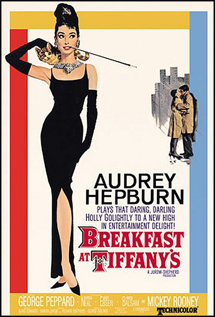 """Vintage Movie Poster--Audrey Hepburn--Breakfast at Tiffany's- Watch for the scene where the cat is alone in the rain... """"Moon River, wider than a mile. I'm crossing you in style some day..."""""""