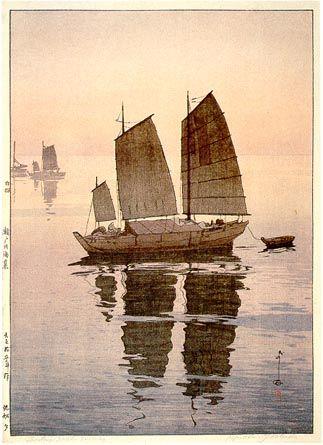 """Sailing Boats, Evening"" by Hiroshi Yoshida, quadruptych, 1926.:"