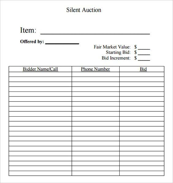 Silent auction bid sheet free silent auction bid sheets for Silent auction catalog template