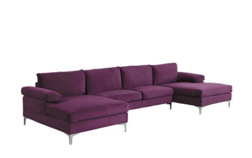 Modern Large Velvet U Shape Sectional Sofa Wide Double Chaise Lounge Purple 649862752926 Ebay Oversized Sectional Sofa U Shaped Sectional Sofa Sectional Sofa