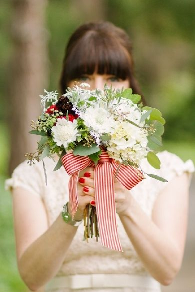 Summertime Bouquet with lovely stripe ribbon.  Ribbon pattern or a bow can make a simple bouquet uniquely your own.