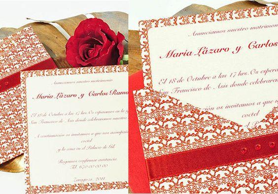 Try a red, bold pattern for your wedding invitation. We think it's beautiful and perfect for winter.