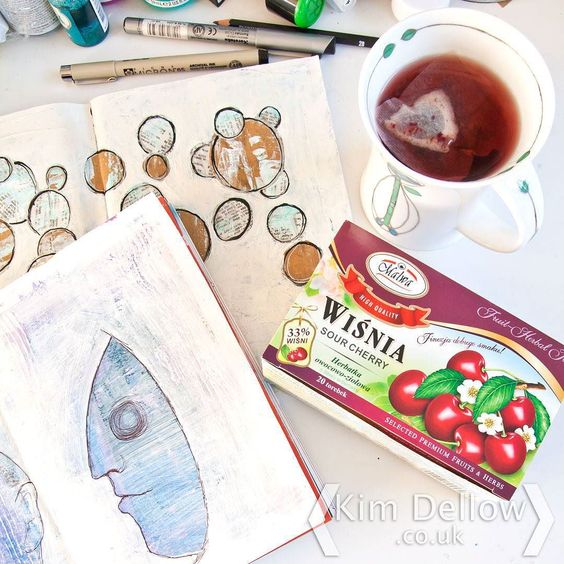 Some cherry tea to get my work day started and a bit if a sneak peek at my share for this week's #ShowYourFaceFriday. Can you guess who I'm 'In The Style' of this week? Here is a clue: she is another surrealist and called Mexico home although she wasn't born there. #happywednesday #KimDellow #artjournaling #faces #portraits