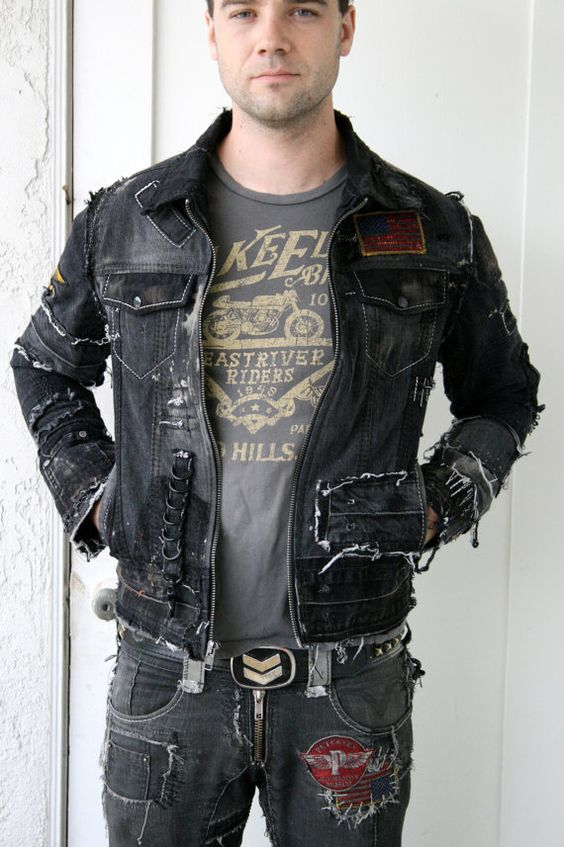 Distressed Black Denim Jacket with patches by BoneBlack on Etsy