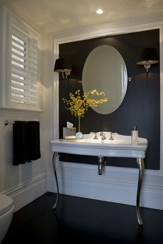 Black And White Powder Room Framed Black Accent Wall