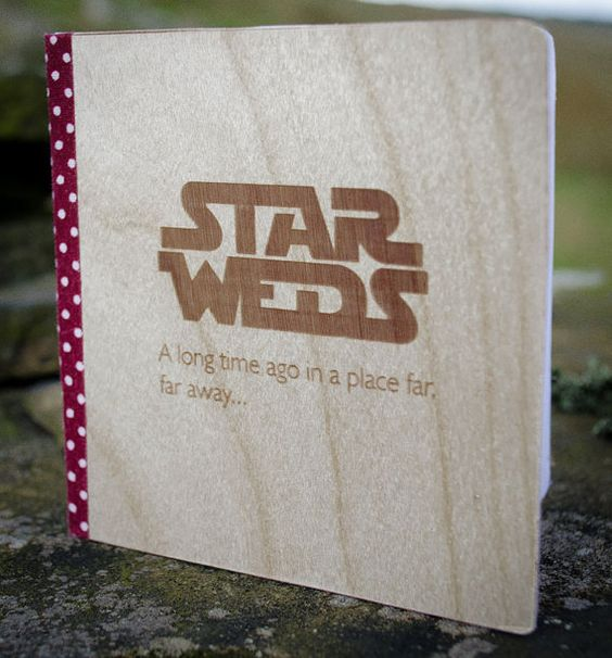 Real Wood Wedding Invitation  Star Weds  Star Wars by WoodenCrow, £4.75