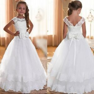 New Child Kid Girl Wedding Flower Dress Lace Princess Party Formal Dress Clothes