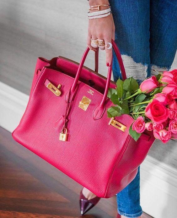 Gorgeous HERMÈS Birkin and roses