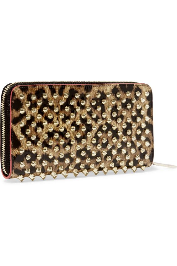 Christian Louboutin | Panettone spiked leopard-print patent-leather continental wallet | NET-A-PORTER.COM
