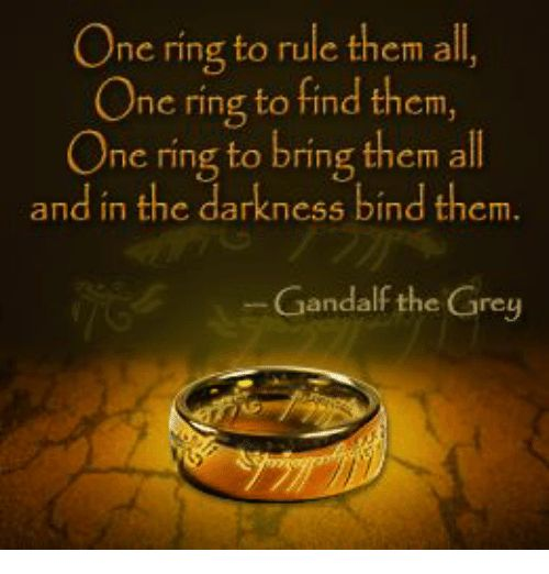 One Ring to Rule Them All One Ring to Find Them One Ring to Bring Them All and in the Darkness Bind Them Gandalf the Grey | Gandalf Meme on ME.ME