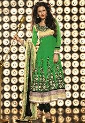 Green and gold anarkali