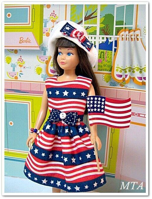 AMERICAN PRIDE~July 4th~Old Glory~5pc Dress~Hat~Flag~Fits Vtg Skipper~Handmade