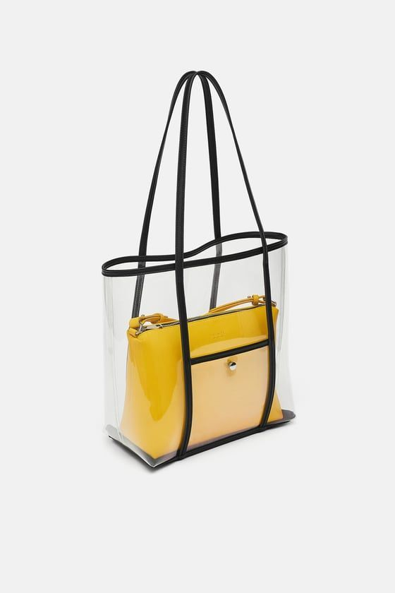 Vinyl Shopper With Interior Bag From Zara Bags Designer Fashion Minimalist Bags Design Vinyl Bag