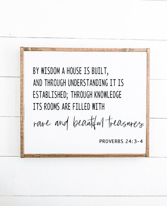 Scripture wood sign Proverbs 24 - living room wall decor - scripture wall art - bible verse sign - B