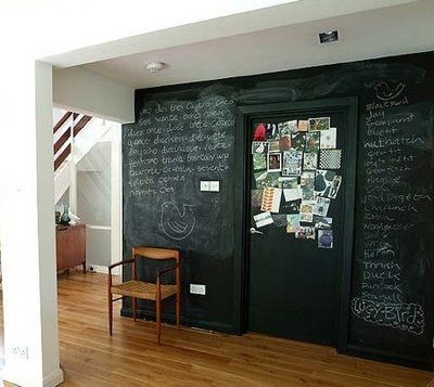DIY own chalkboard paint  1. a good quality latex wall paint (any colour)  2. UN-SANDED tile grout (light for lighter colors, dark for darker)    The blending ratio is about 1 cup of paint to 2 tablespoons of un-sanded tile grout. Make sure you blend it well; break up any clumps until smooth. Put at least 3 coats down- in different directions with each layer and be sure to sand each layer lightly with 150 grit sandpaper when dry.    Season the chalkboard with the side of a piece of chalk…