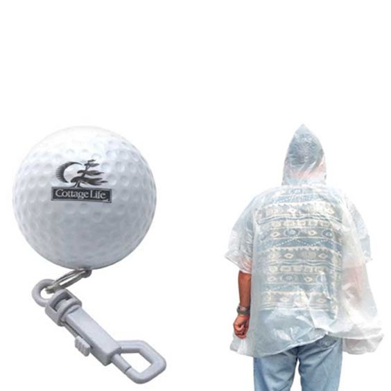 Poncho - Poncho packed in oversized golf ball shape case.