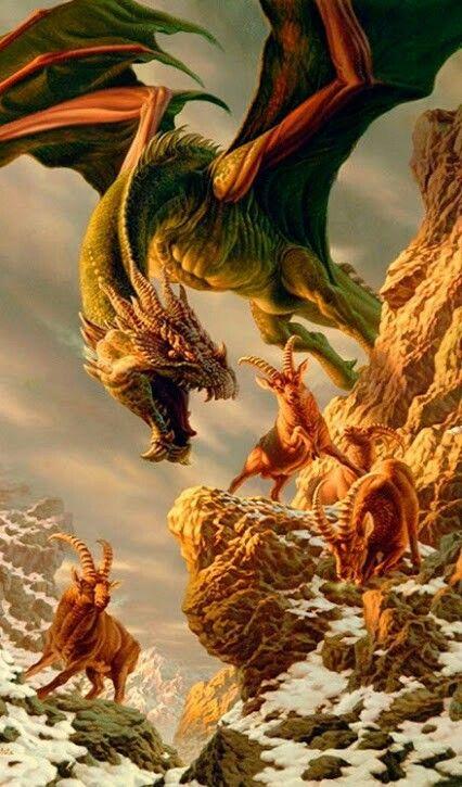 ヤギを襲うファイアドラゴンの壁紙