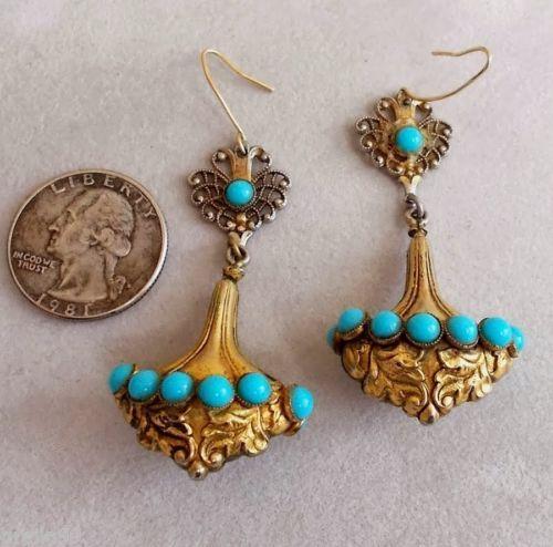 Vintage Victorian Edwardian Hollow Urn Shape Earrings Turquoise Pierced | eBay