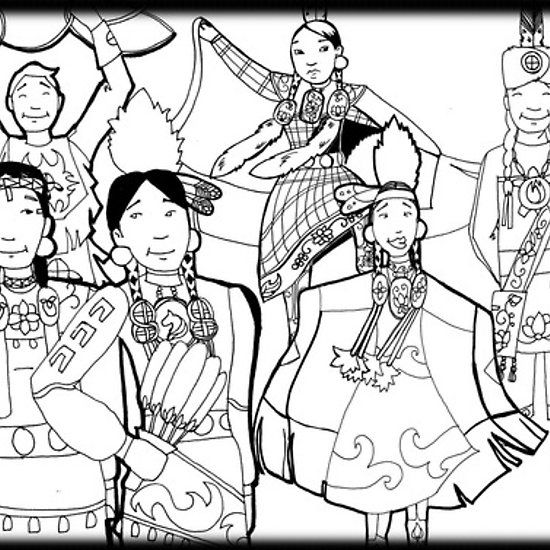 pow wow people coloring page people