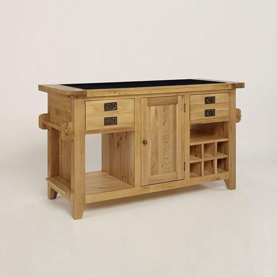 Provence Solid Oak Granite Top Kitchen Island Unit -  - Table - Ametis - Space & Shape - 1