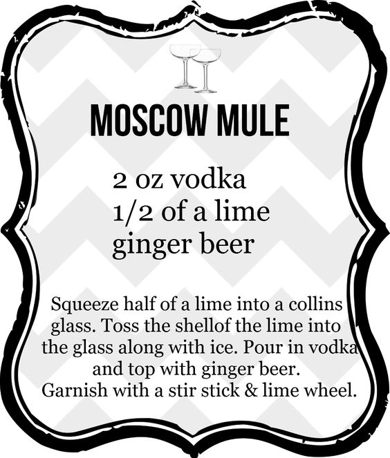 Moscow mule: vodka, lime, ginger beer