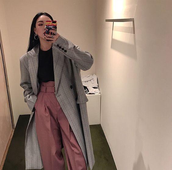 FFSTUDIO 定制 oversize格纹西装长外套长风衣-淘宝网全球站