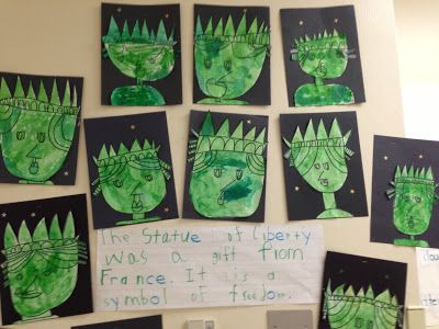 Chalk Talk: A Kindergarten Blog: The Statue of Liberty in Directed Drawing for symbols of America unit