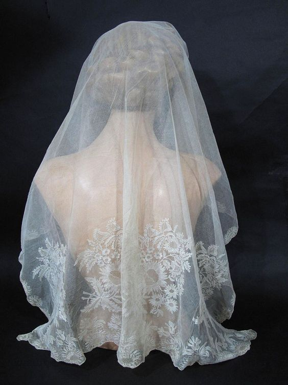 Highly Ornamented 1790 - 1810 Blonde Lace Bonnet / Wedding Veil from marzillivintage on Ruby Lane