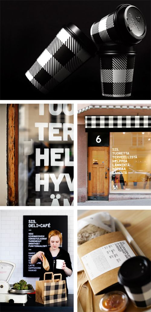 """SIS. Deli + Café - """"Amazing visual identity for SIS, a Scandinavian delicatessen, by Muotohiomo from Finland. This chain specializes in ecological and organic products and apparently design as well! Love the bold black & white typography paired with the more traditional plaid pattern."""" From www.twigandthistle.com"""