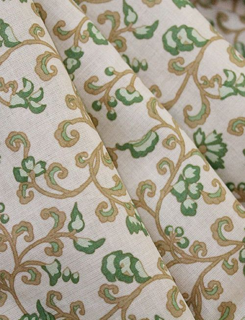 """Lawn Floral Print, Ivy Green & Gold Vines on Ivory, 45"""" (8-30-13)"""